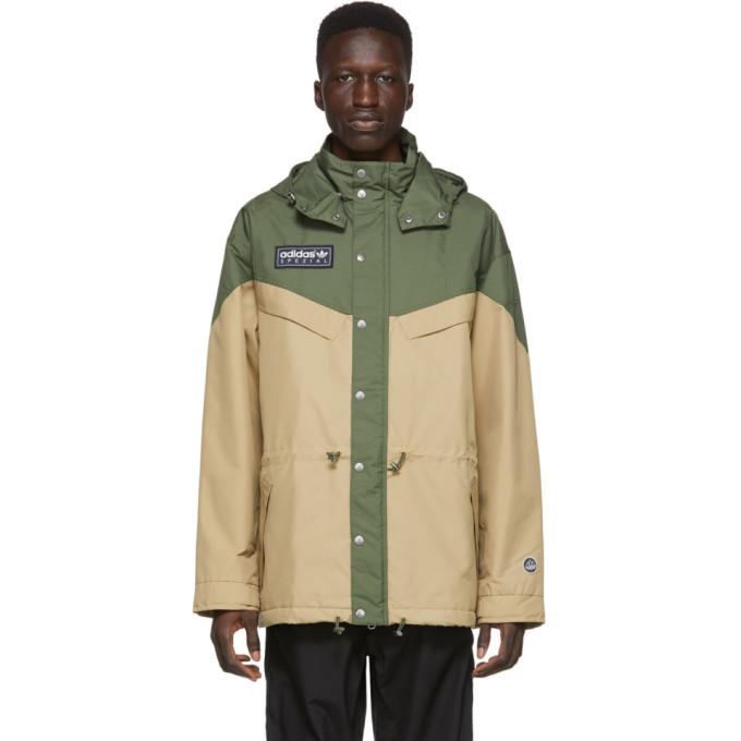 Photo: adidas Originals Green and Beige Spezial Belthorn Anorak Jacket