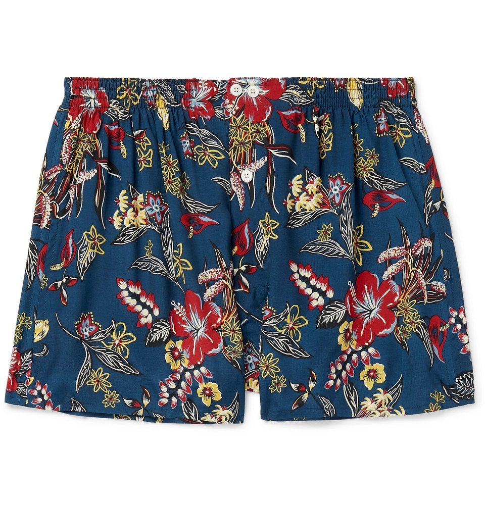 Photo: Anonymous Ism - Printed Voile Boxer Shorts - Blue