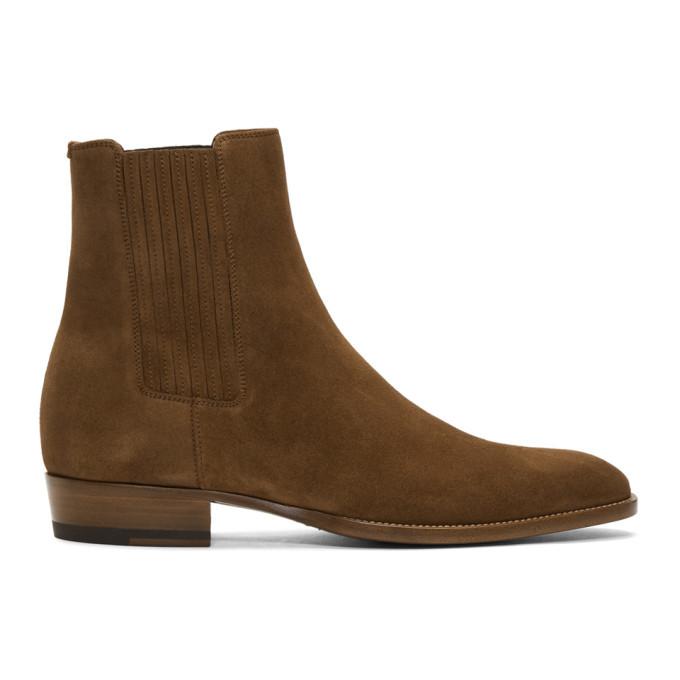 Photo: Saint Laurent Brown Suede Wyatt Chelsea Boots