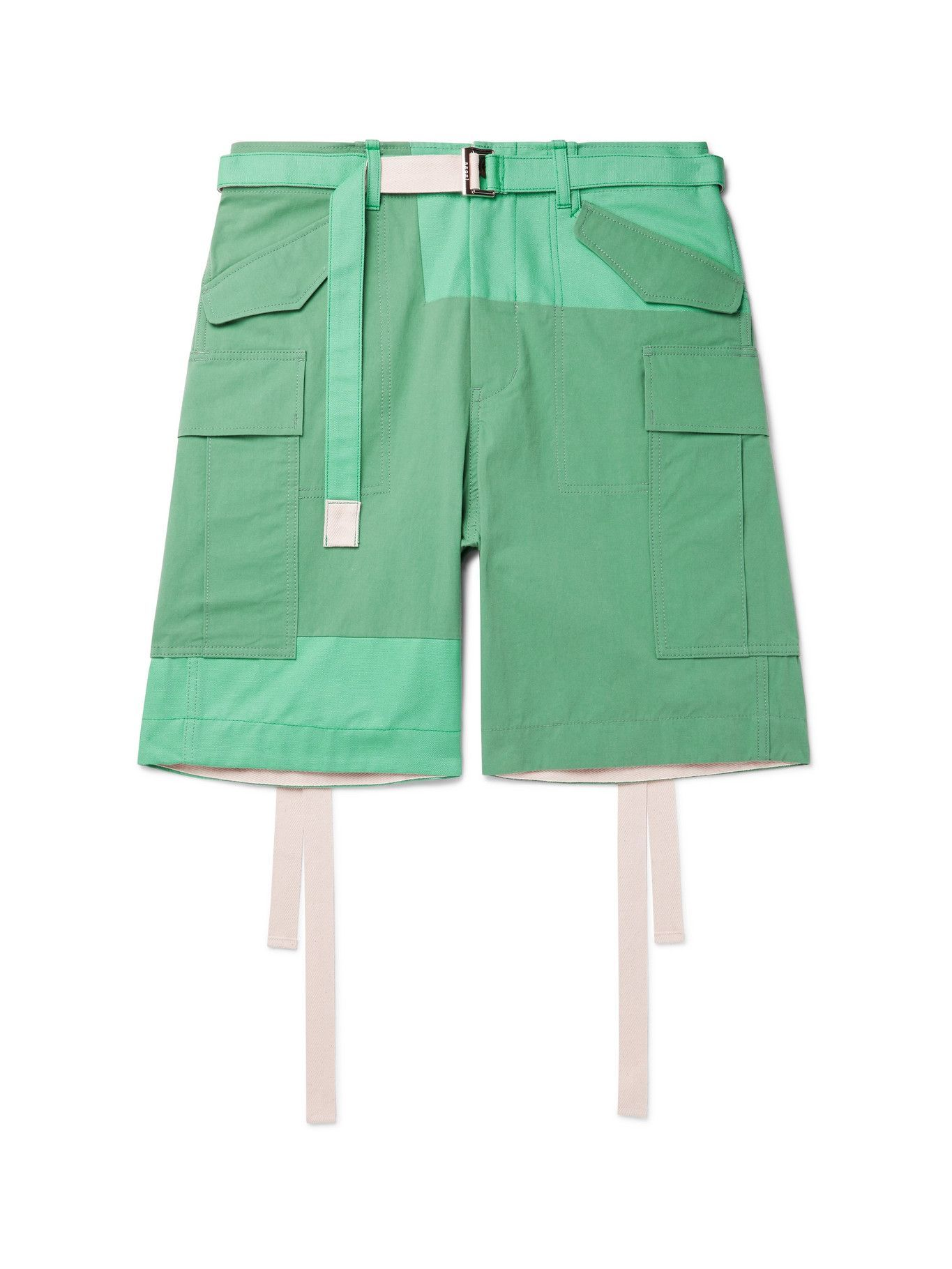 SACAI - Belted Panelled Cotton-Blend Oxford and Shell Cargo Shorts - Green