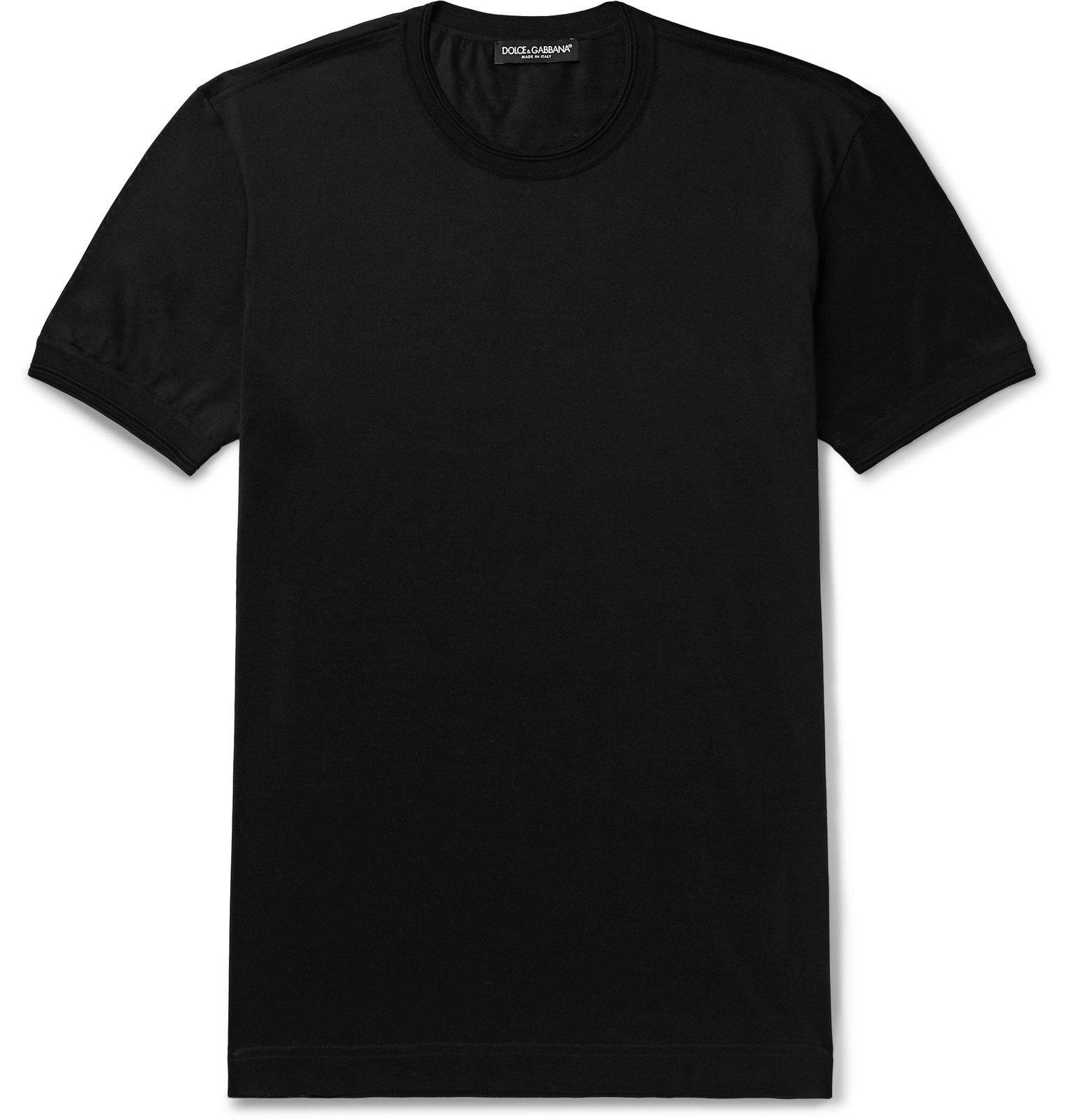 Photo: Dolce & Gabbana - Silk-Jersey T-Shirt - Black