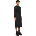 Sacai Black Sheer Rib and Poplin Belted Dress