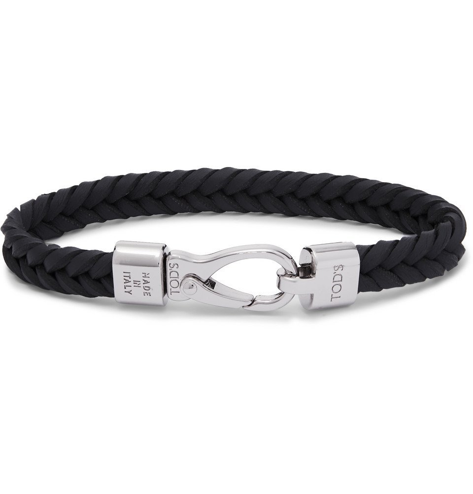 Photo: Tod's - Woven Leather and Silver-Tone Bracelet - Midnight blue
