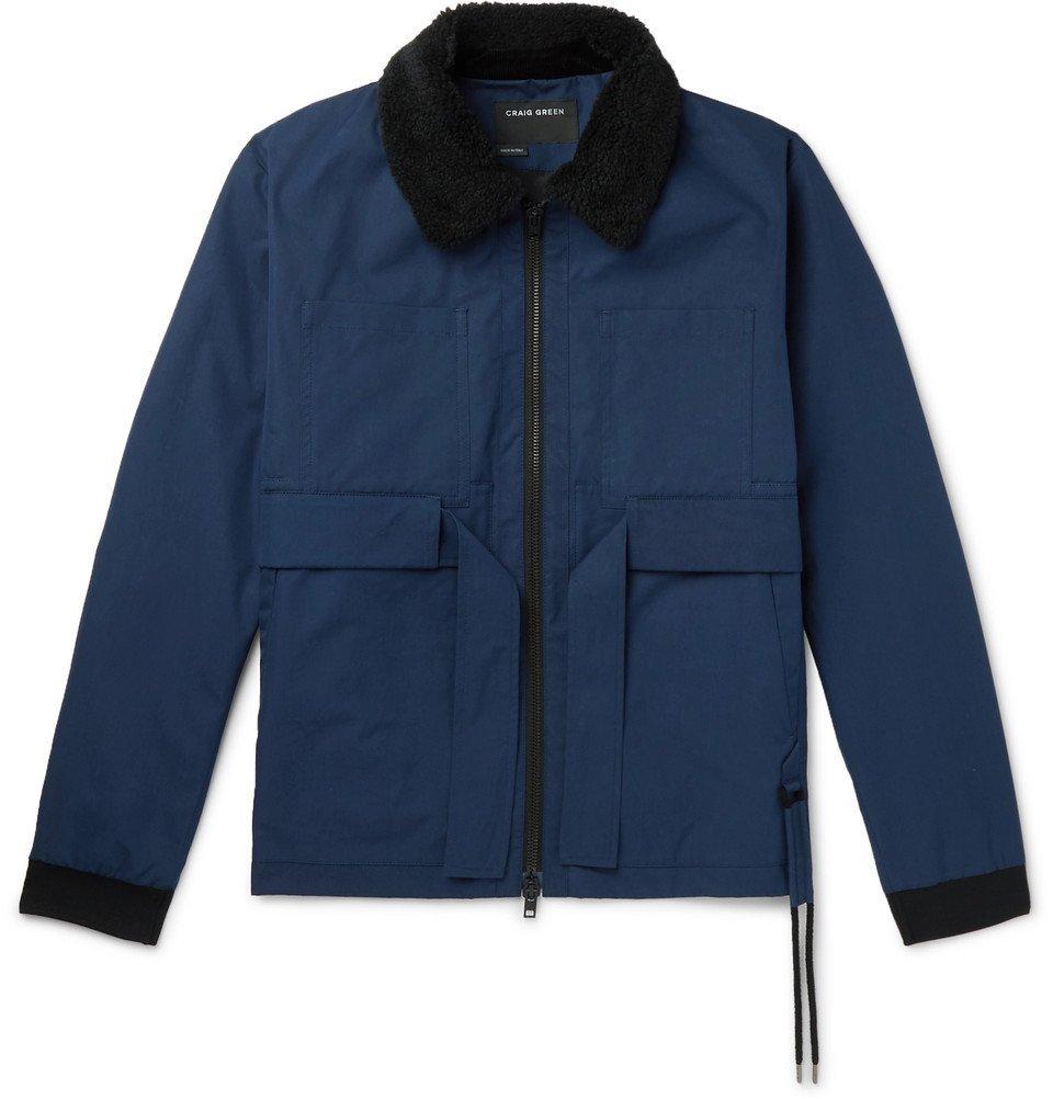 Photo: Craig Green - Faux Shearling-Trimmed Cotton-Gabardine Jacket - Navy