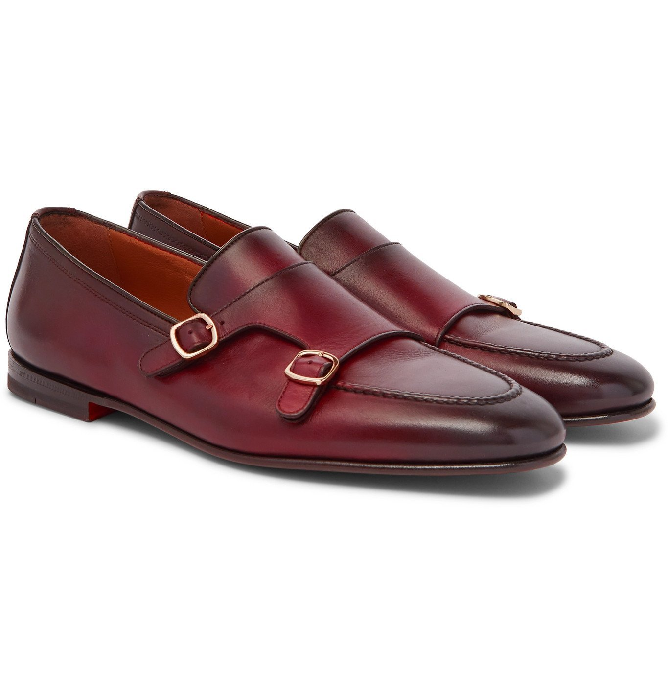 Photo: Santoni - Burnished-Leather Monk-Strap Shoes - Burgundy