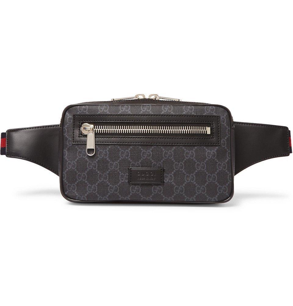 Photo: Gucci - Leather-Trimmed Monogrammed Coated-Canvas Belt Bag - Black