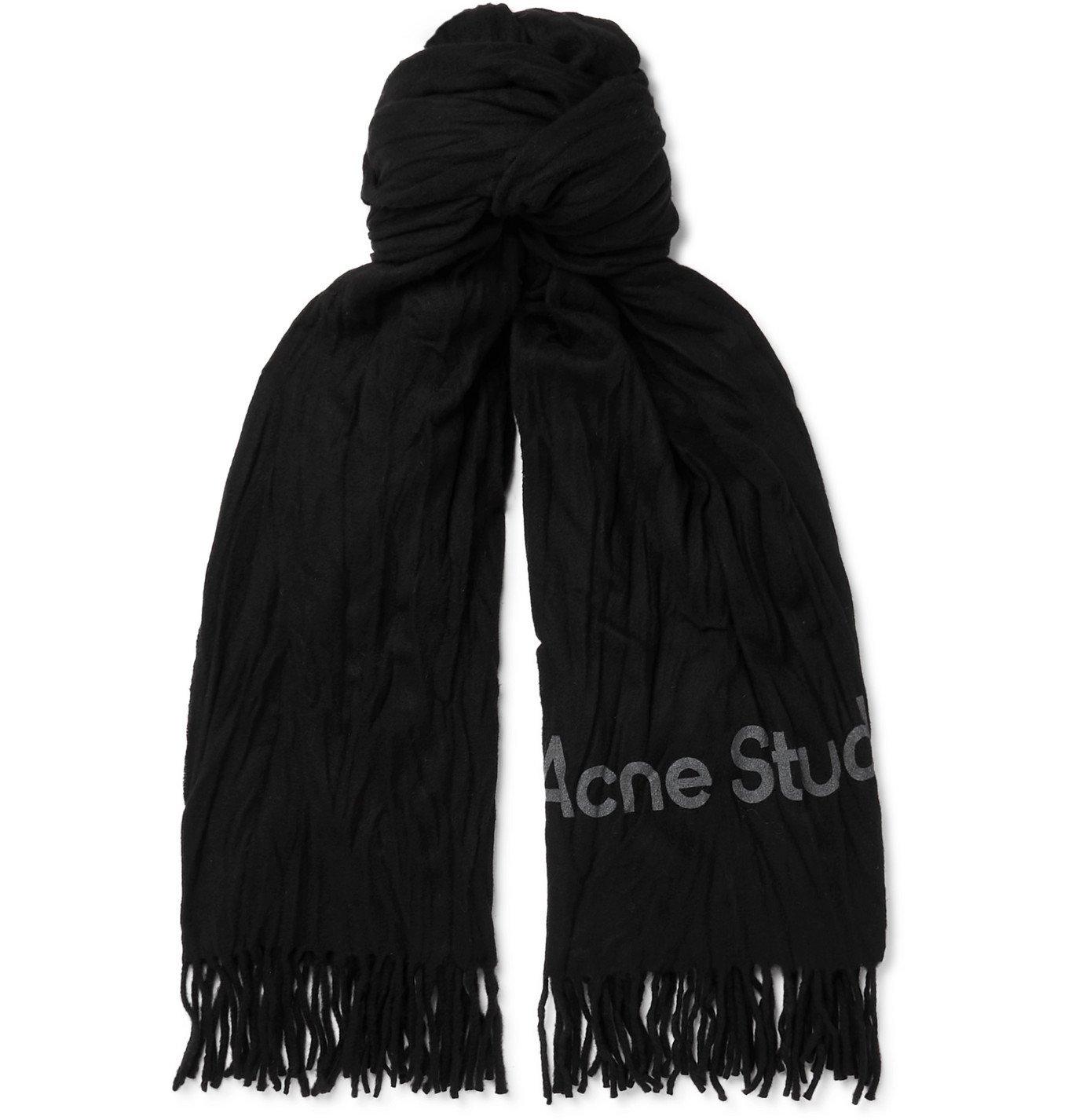 ACNE STUDIOS - Logo-Print Fringed Crinkled-Wool Scarf - Black