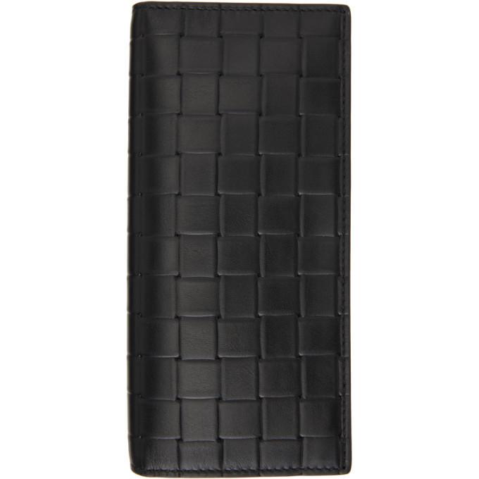 Photo: Bottega Veneta Black Printed Grid Bifold Wallet