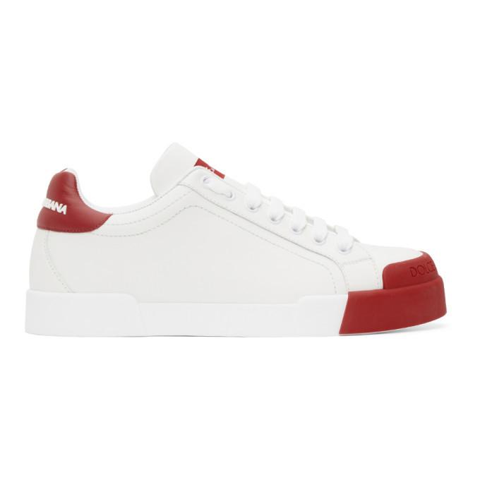Photo: Dolce and Gabbana White and Red Portofino Sneakers
