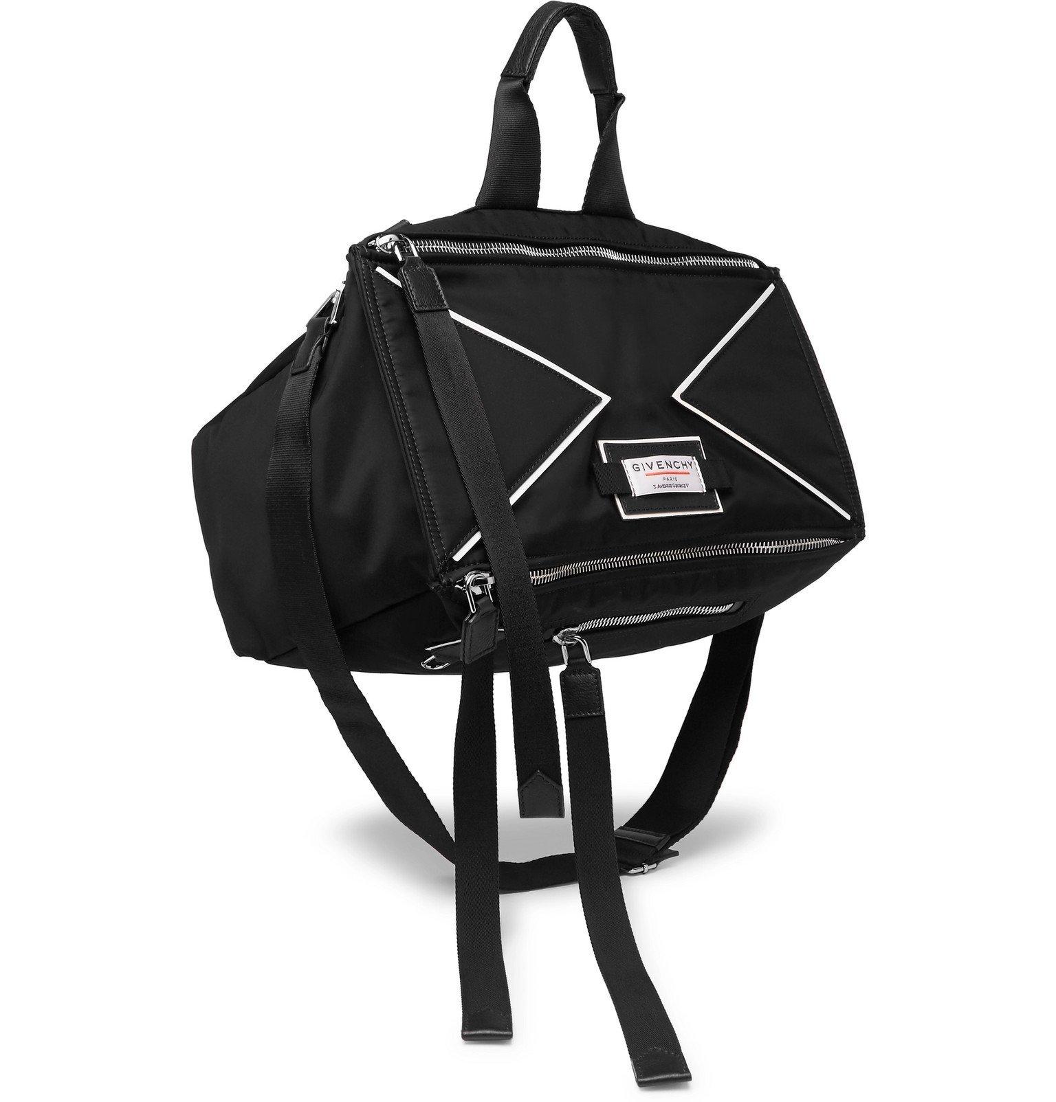Photo: Givenchy - Downtown Pandora Logo-Appliquéd Leather-Trimmed Shell Messenger Bag - Black