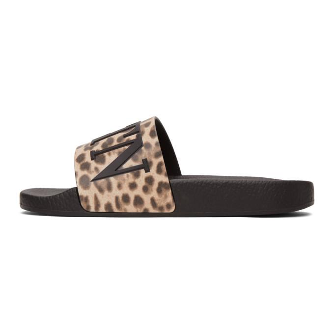 Valentino Brown Valentino Garavani VLTN Cheetah Slides