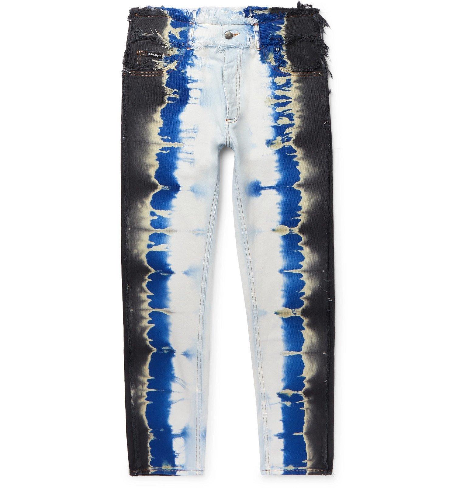 Photo: Palm Angels - Slim-Fit Distressed Tie-Dyed Denim Jeans - Multi