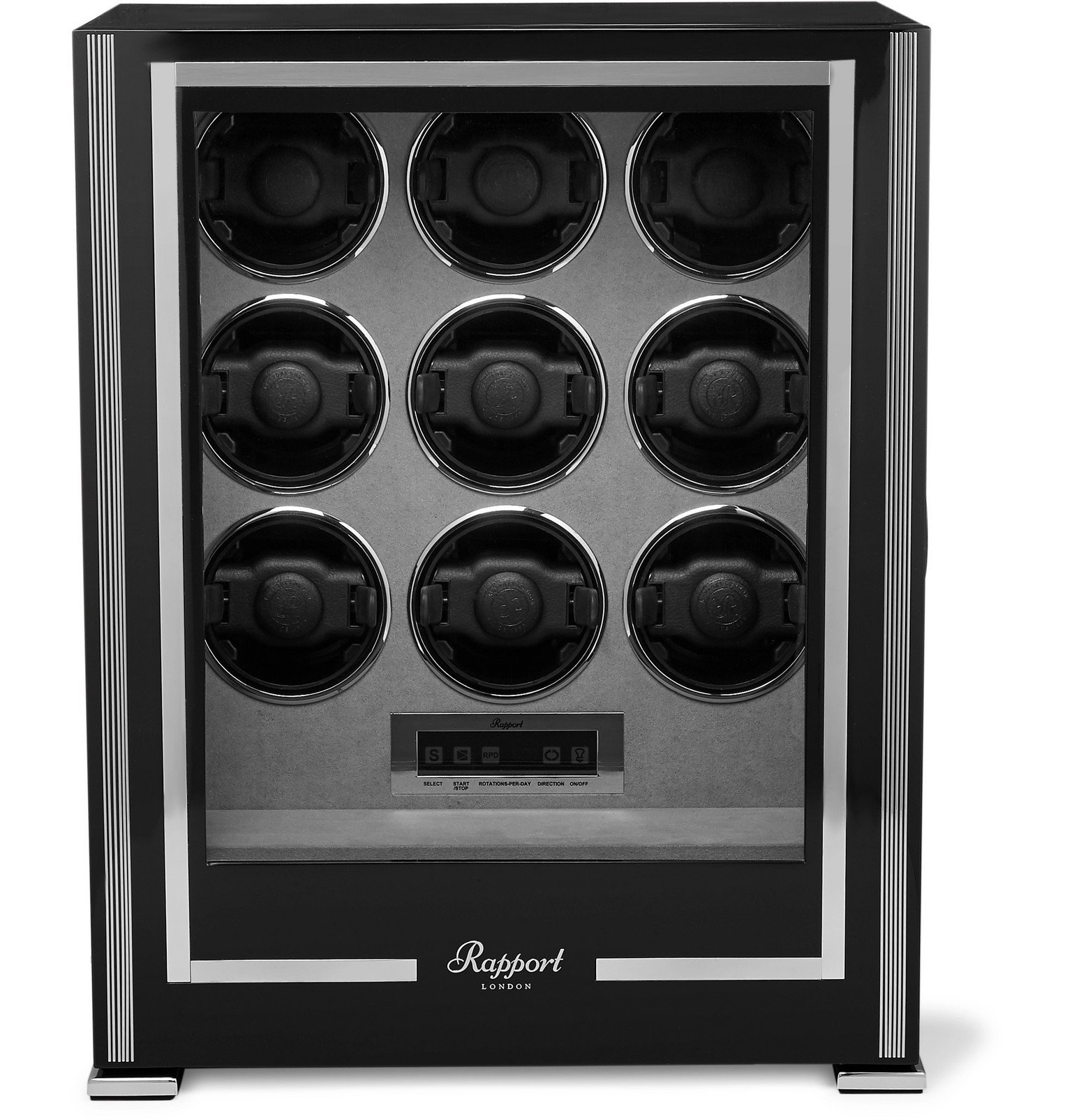 Rapport London - Paramount Lacquered Ebony And Glass Watch Winder - Black