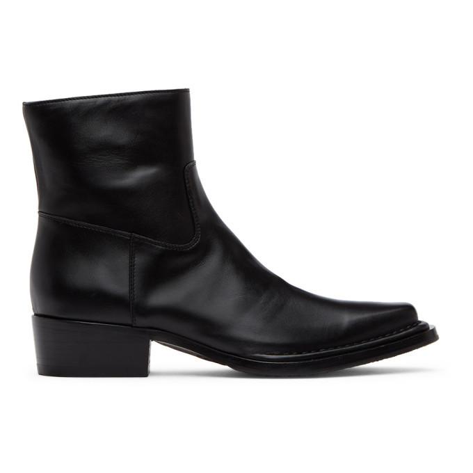 Photo: Acne Studios Black Square-Toe Zip Boots
