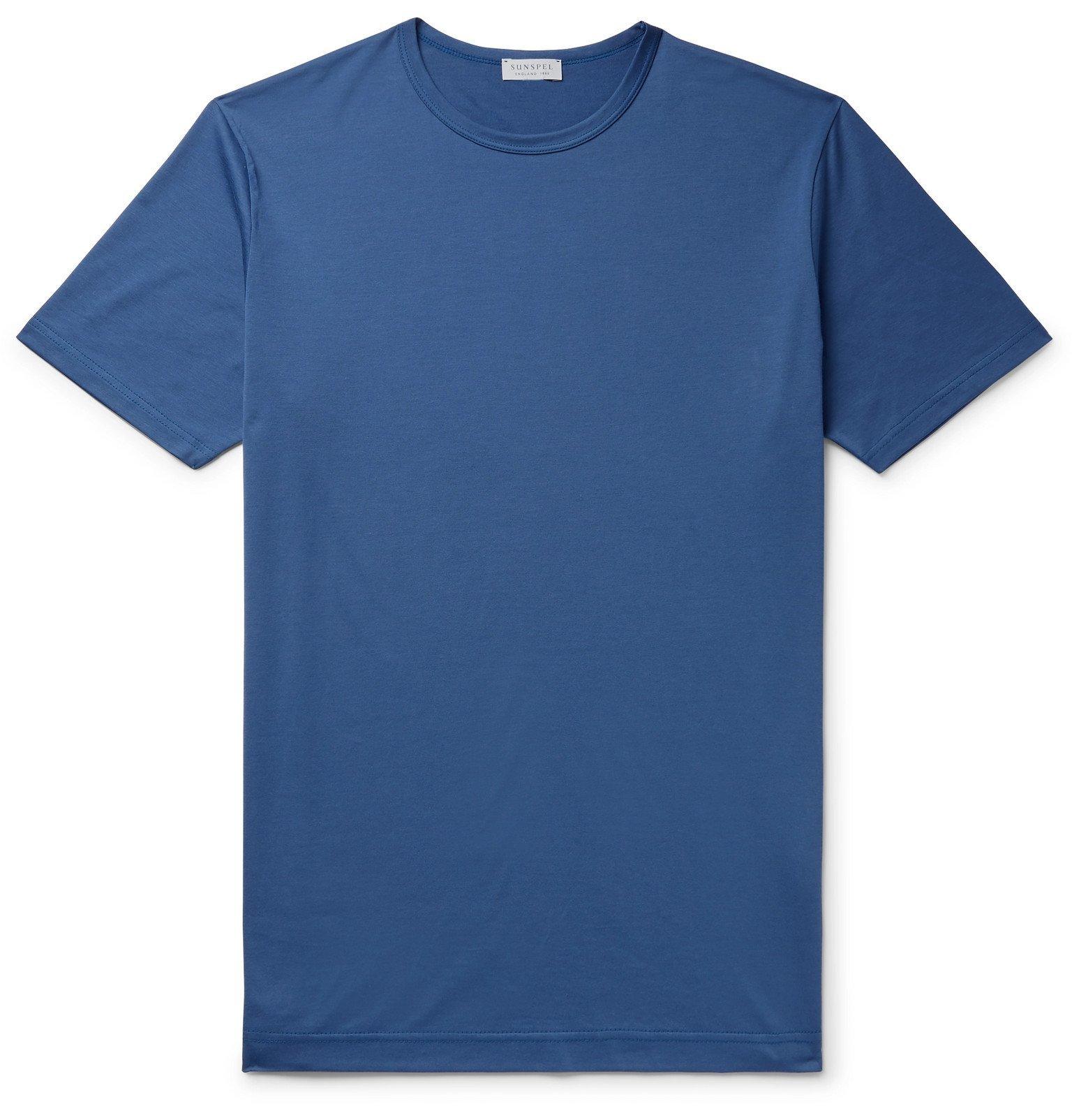 Sunspel - Slim-Fit Cotton-Jersey T-Shirt - Blue