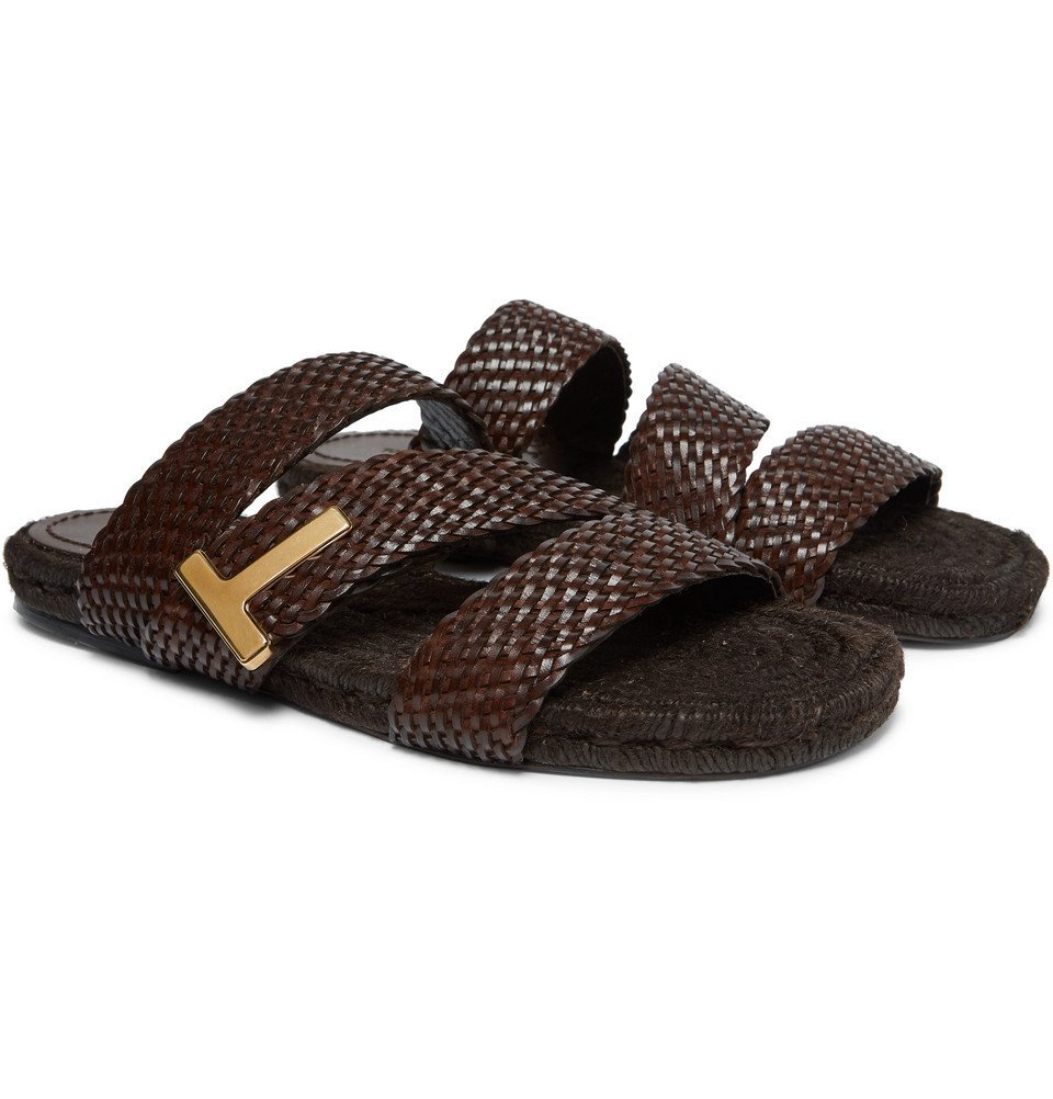 Photo: TOM FORD - Grafton Woven Leather Slides - Brown