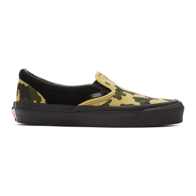 Photo: Vans Black Camo OG Classic Slip-On Sneakers