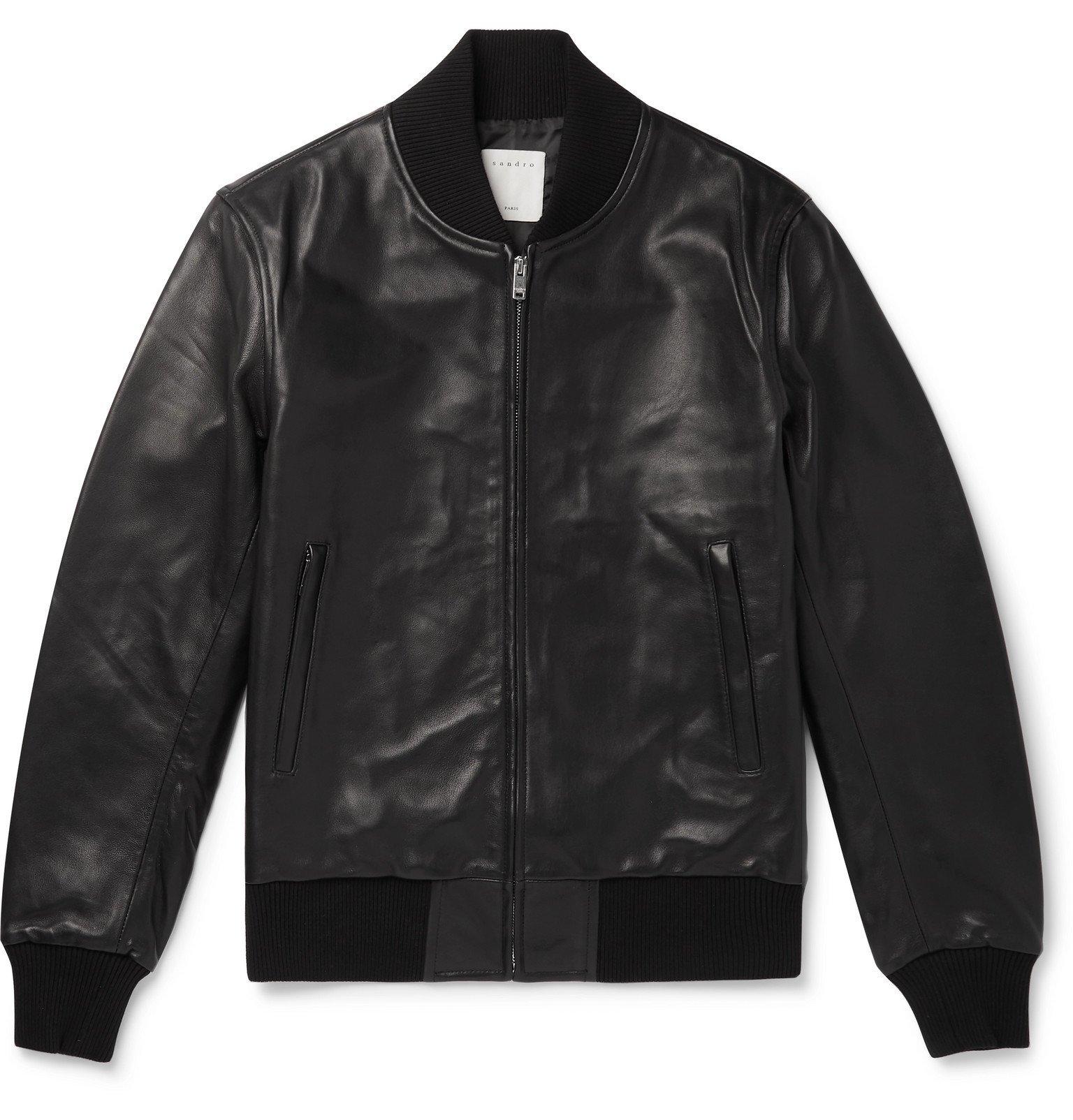 Photo: Sandro - Leather Bomber Jacket - Black