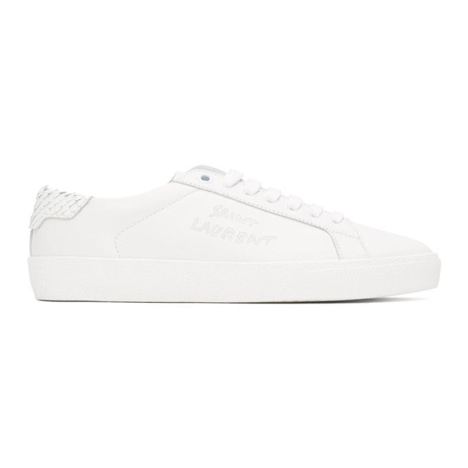 Photo: Saint Laurent White Python Court Classic Sneakers