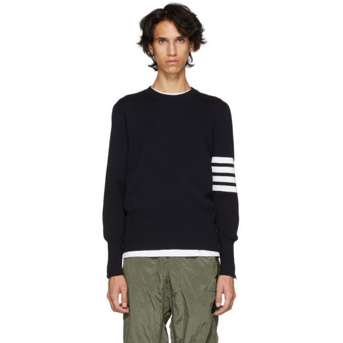 Photo: Thom Browne Navy Milano Stitch Four Bar Crewneck Sweater