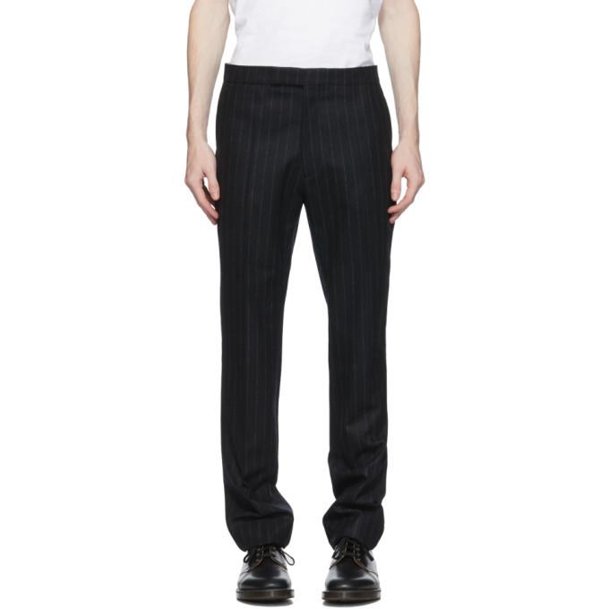 Raf Simons Black Wool Pinstripe Trousers