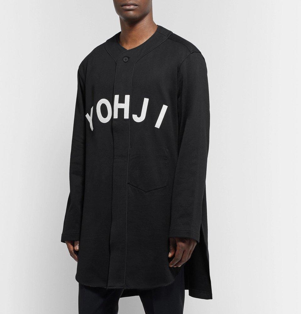 Y-3 - Oversized Appliquéd Loopback Cotton-Jersey Baseball Shirt - Black