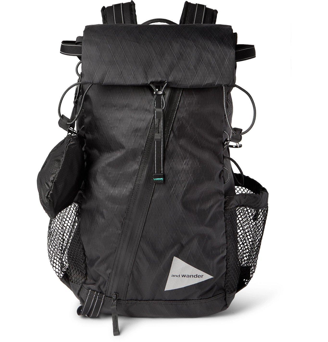 Photo: And Wander - Logo-Print X-Pac Shell and Mesh Backpack - Black