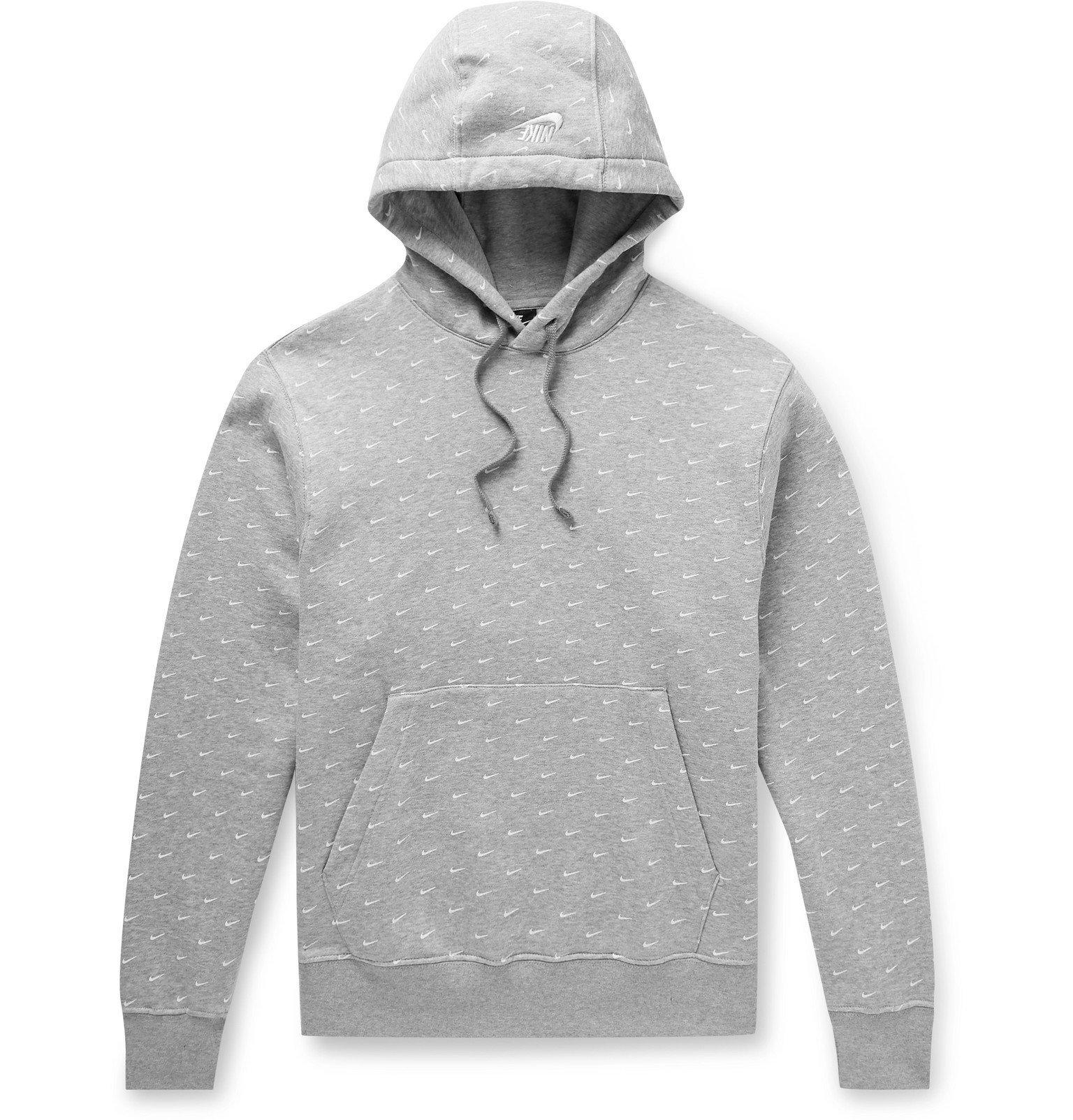 Photo: Nike - Sportswear Swoosh Printed Fleece-Back Cotton-Blend Jersey Hoodie - Gray