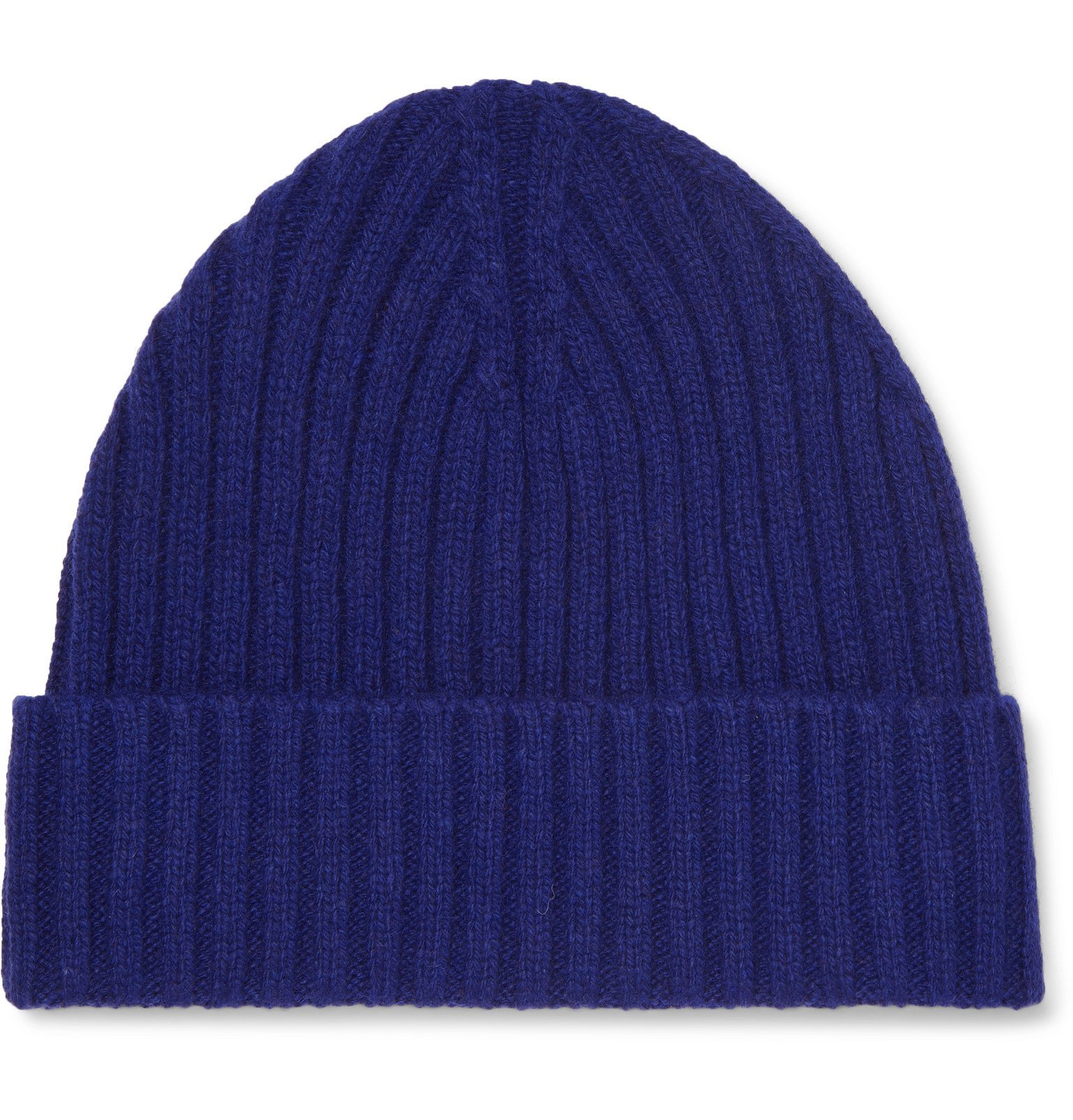 Photo: Officine Generale - Ribbed Cashmere and Wool-Blend Beanie - Blue