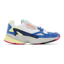 adidas Originals White and Blue Falcon 90s Sneakers