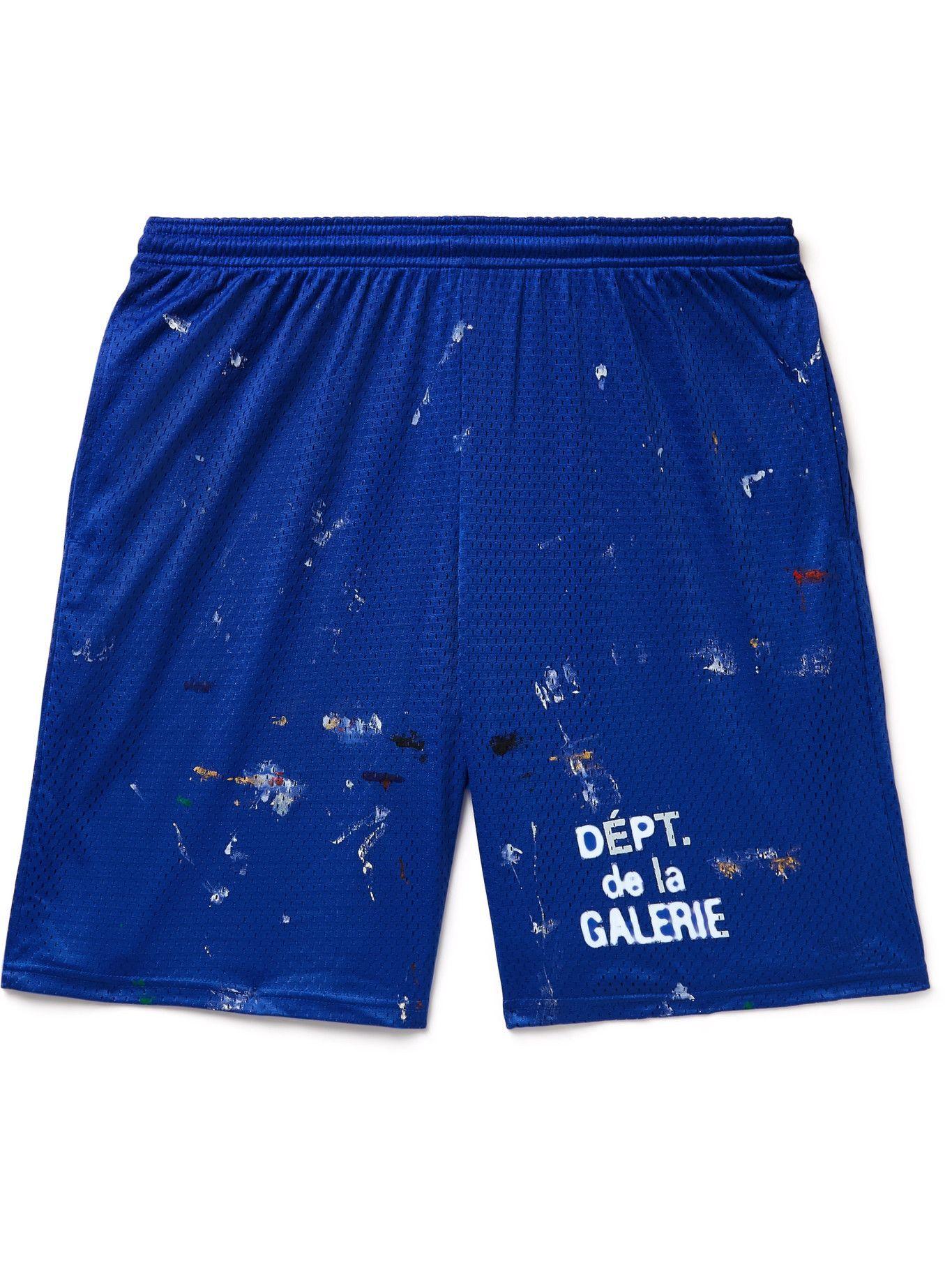 Photo: Gallery Dept. - Studio Gym Logo-Print Paint-Splattered Mesh Shorts - Blue