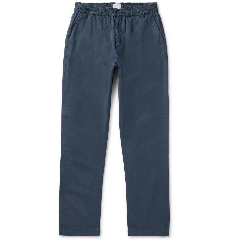 Sunspel - Navy Garment-Dyed Cotton-Twill Drawstring Trousers - Men - Navy