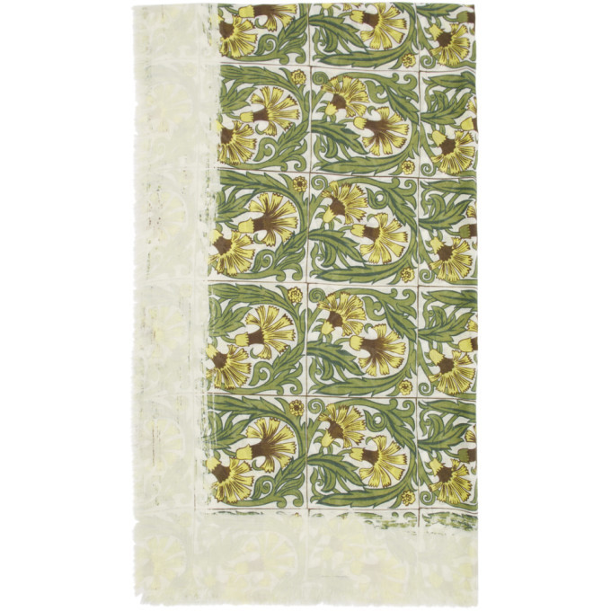 Photo: Loewe White and Green William De Morgan Modal Flowers Anagram Scarf