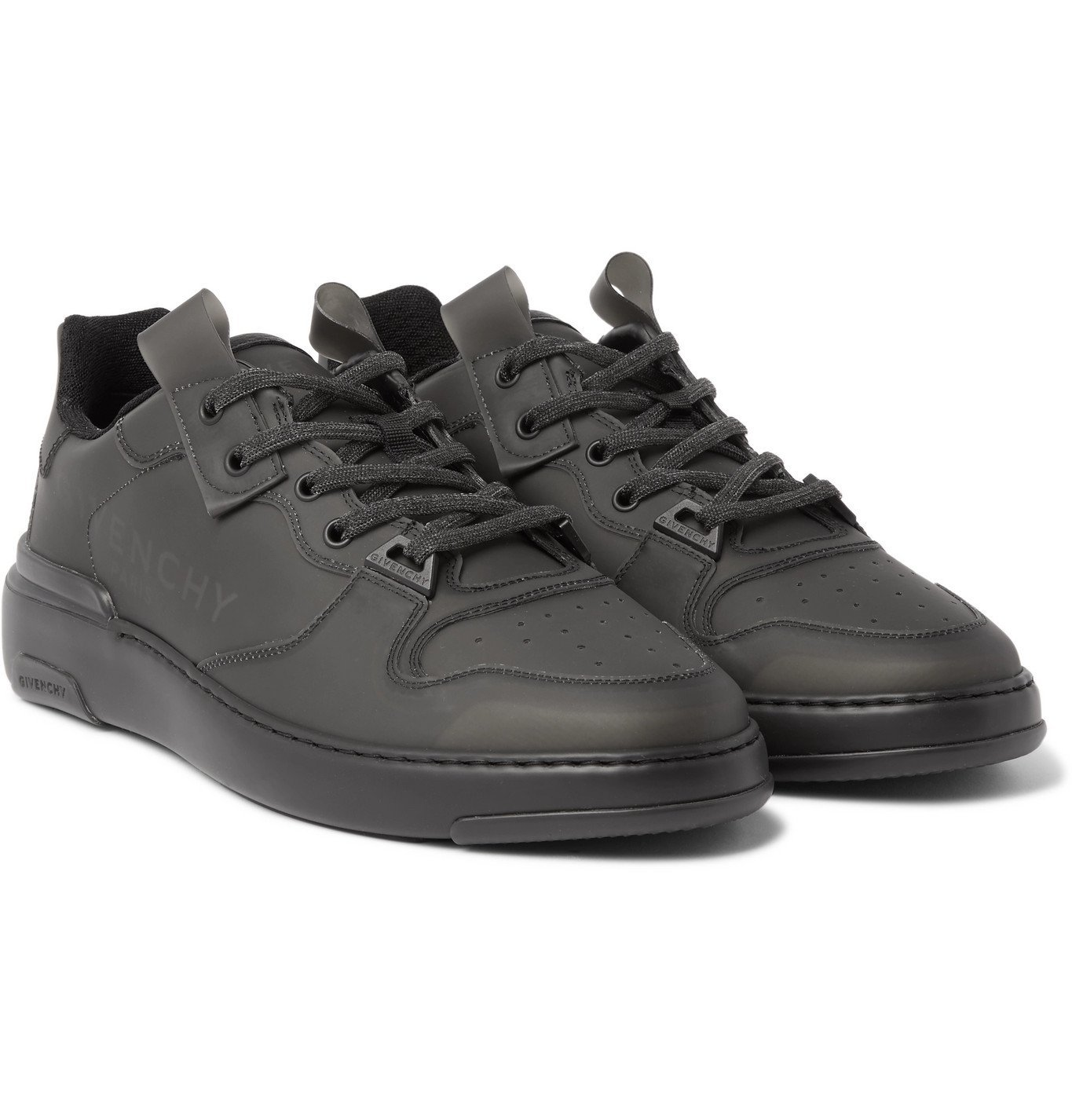 Photo: Givenchy - Wing Leather-Trimmed Rubber Sneakers - Black