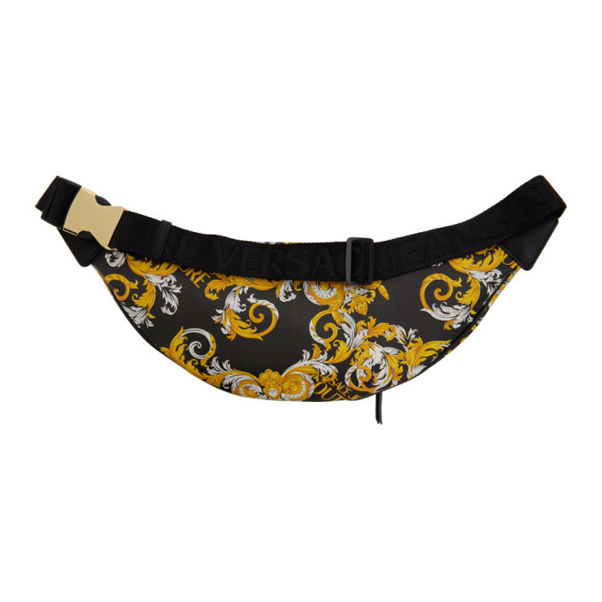 Versace Jeans Couture Black and Gold Baroque Belt Bag