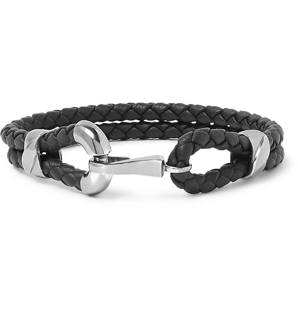 Bottega Veneta - Intrecciato Leather Oxidised Silver-Tone Bracelet - Men - Black