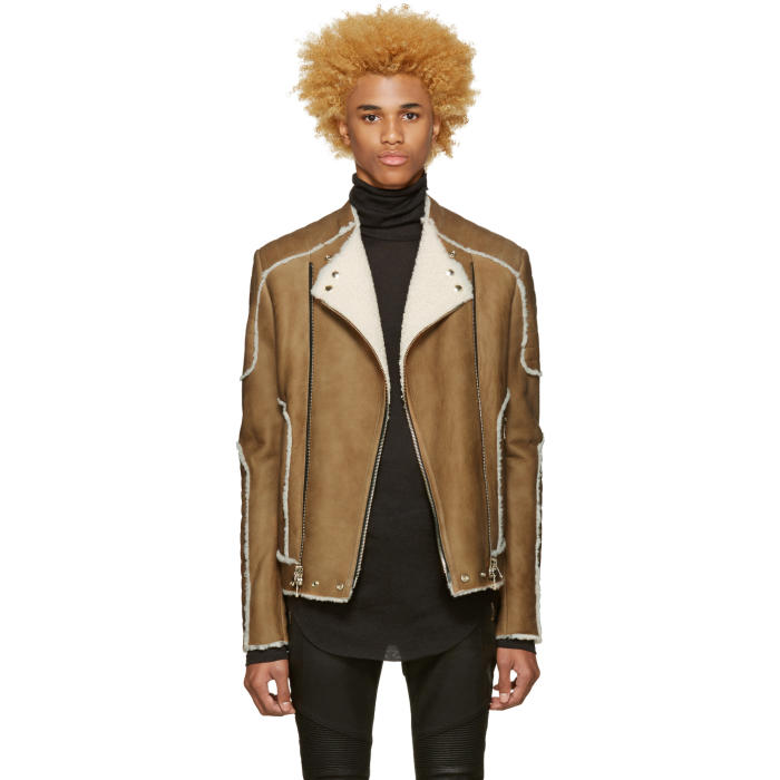 Photo: Balmain Beige Shearling Biker Jacket