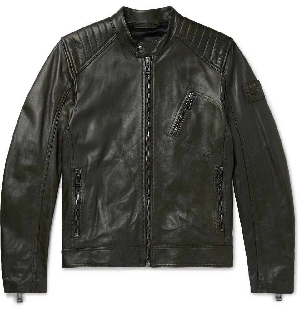 Photo: Belstaff - V Racer Slim-Fit Leather Biker Jacket - Green