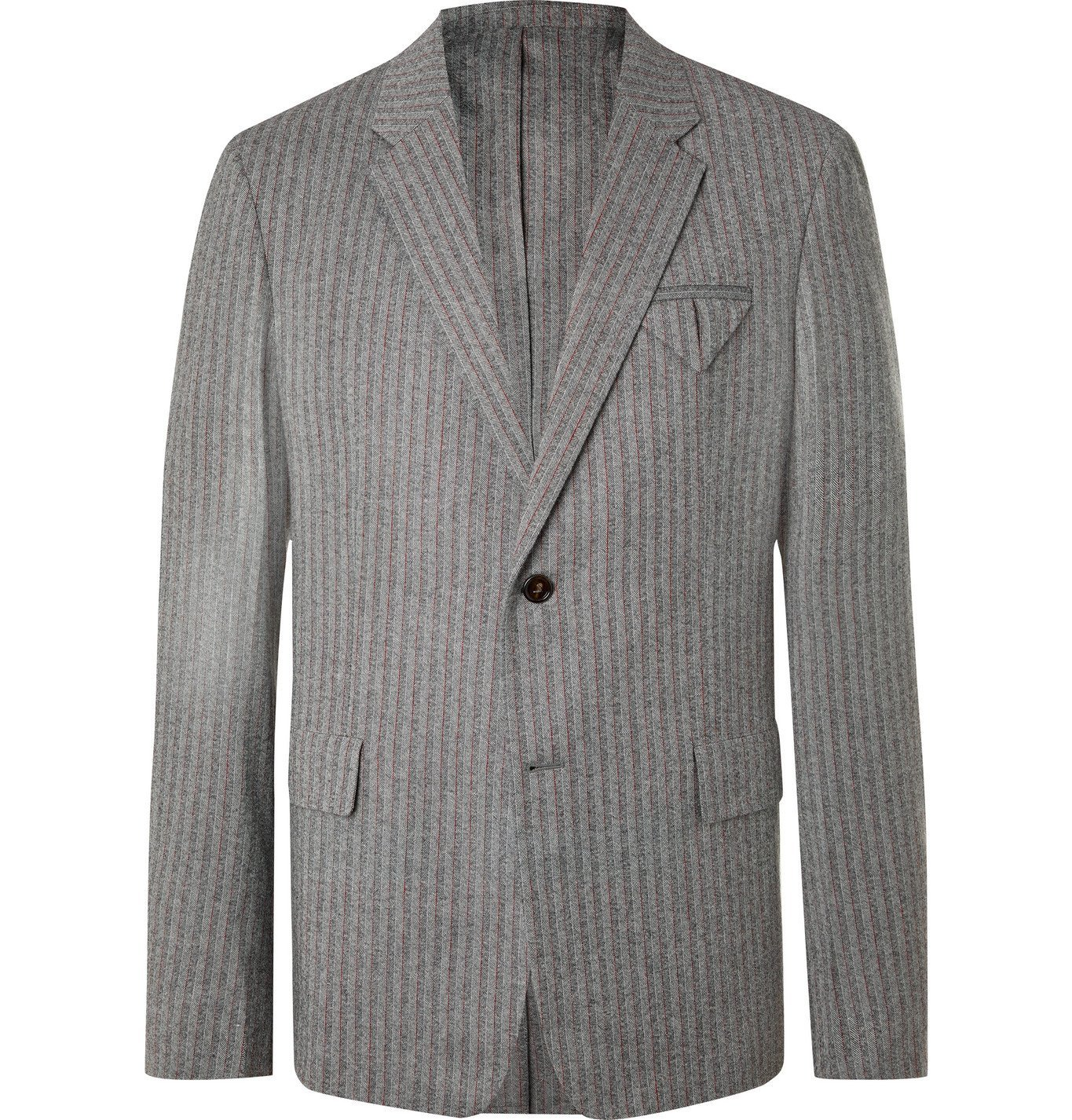 Photo: BOTTEGA VENETA - Herringbone Stretch-Wool Flannel Suit Jacket - Gray