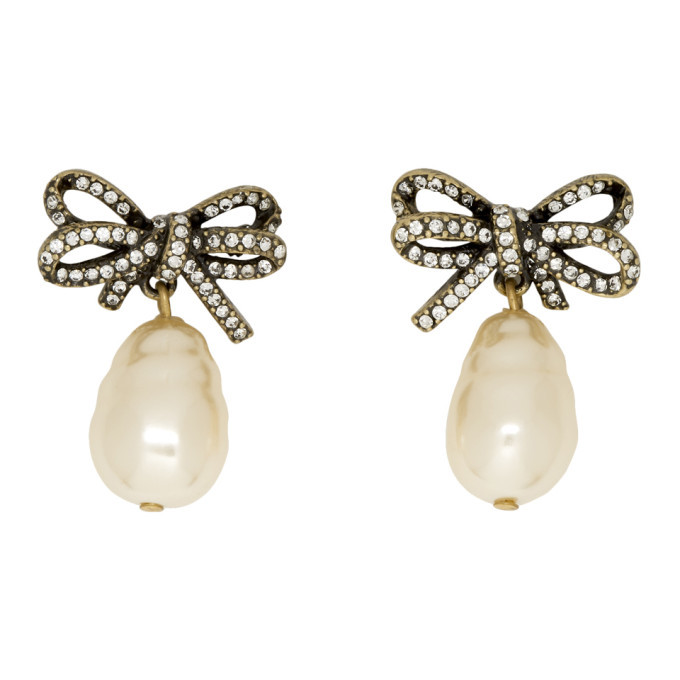 11ae025f3 Marc Jacobs Gold Small Faux-Pearl Bow Earrings Marc Jacobs