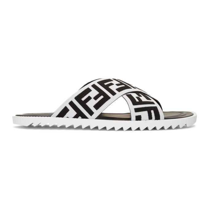 Photo: Fendi Black and White Forever Fendi Slides