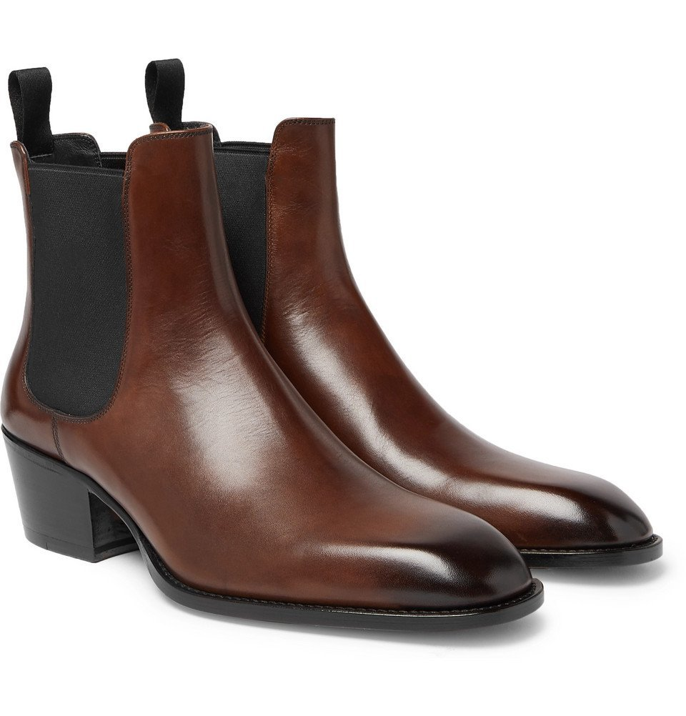 Photo: TOM FORD - Webster Burnished-Leather Chelsea Boots - Men - Brown