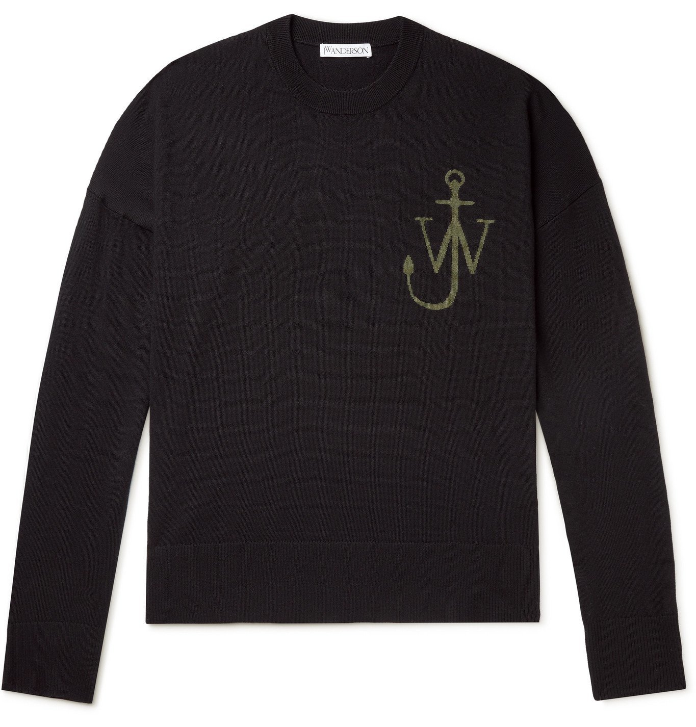 Photo: JW Anderson - Logo-Jacquard Wool Sweater - Black