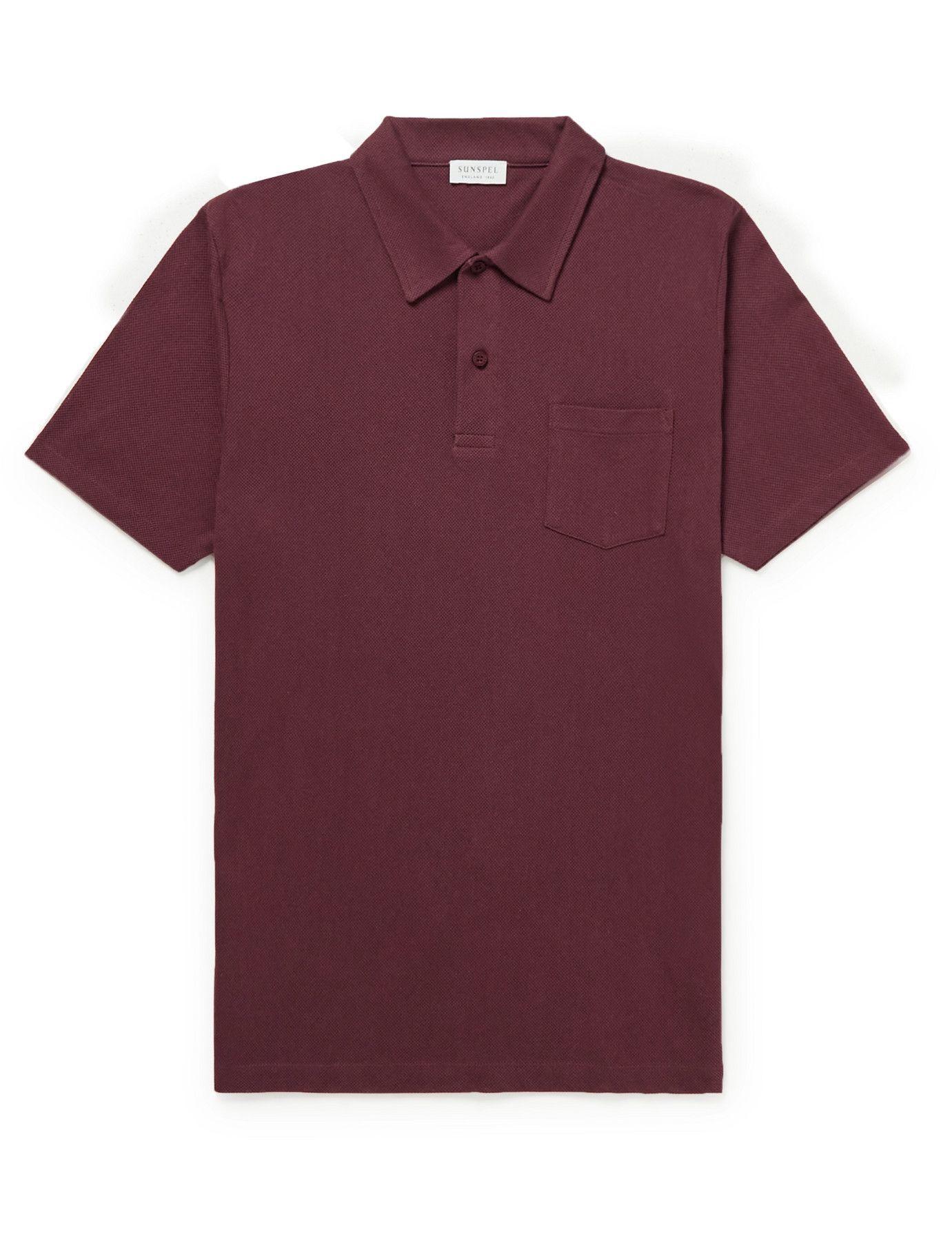 SUNSPEL - Riviera Slim-Fit Cotton-Mesh Polo Shirt - Red