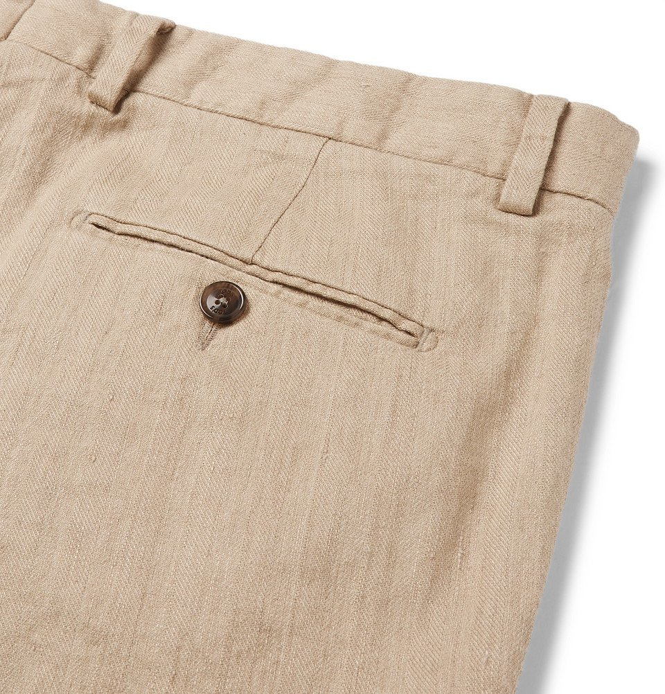 Tod's - Beige Slim-Fit Stretch Cotton and Linen-Blend Trousers - Beige
