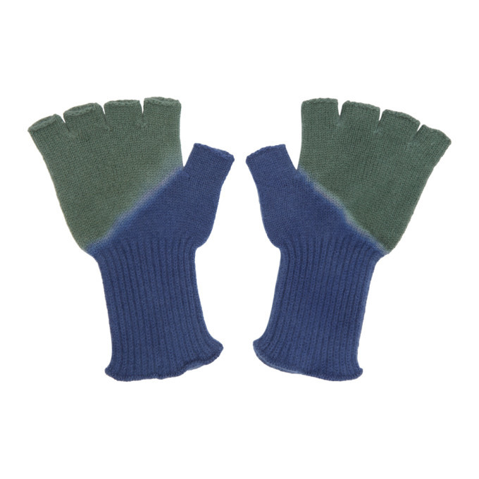 Photo: The Elder Statesman Green and Blue Hot Fingerless Gloves