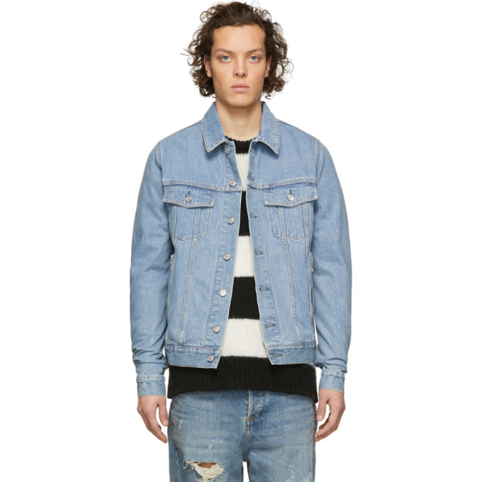 Photo: Balmain Blue Denim Coin Logo Jacket