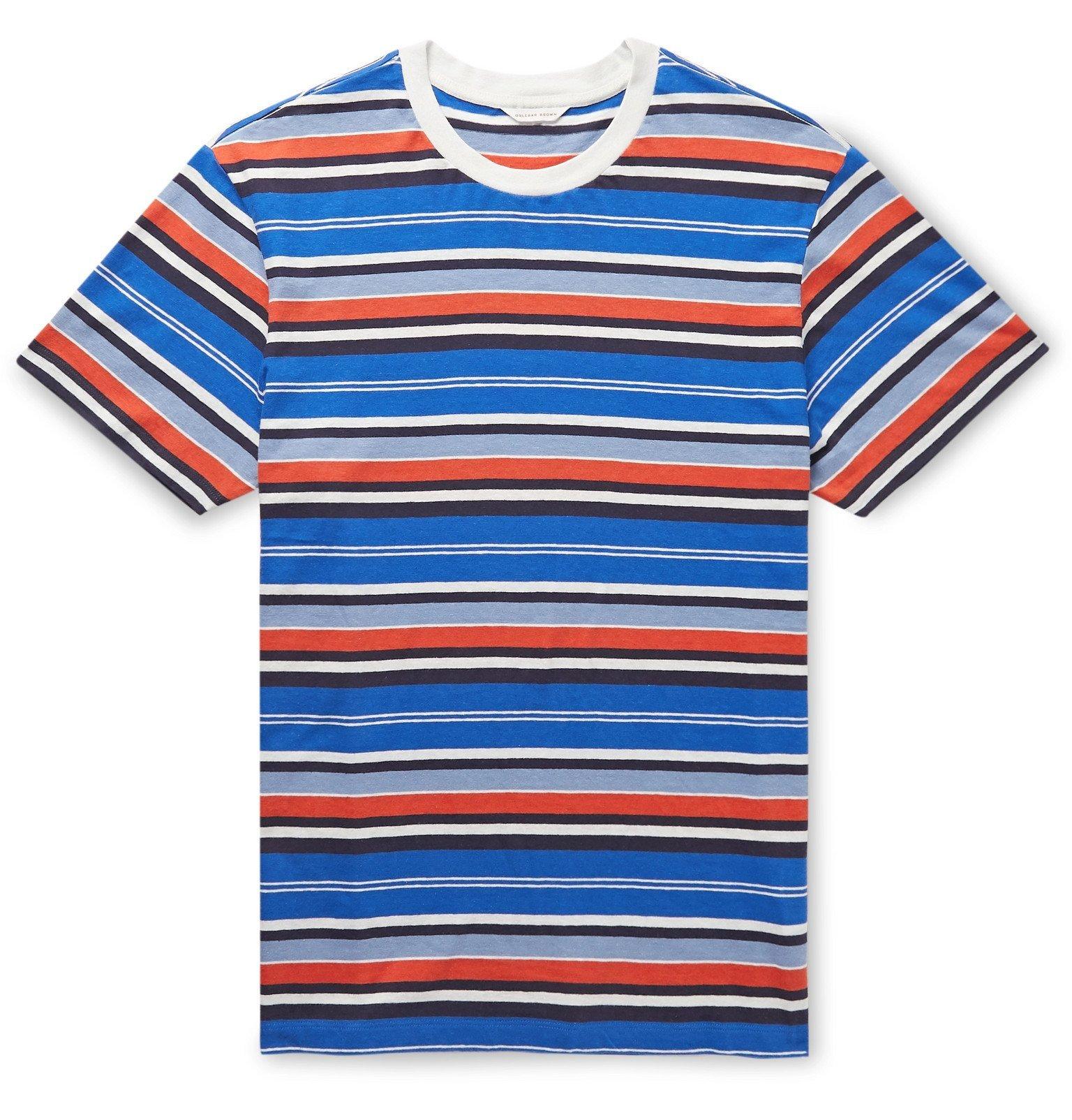 Photo: Orlebar Brown - Sammy Striped Cotton and Linen-Blend T-Shirt - Blue