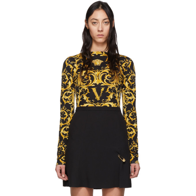 Photo: Versace Black and Yellow Wester Barocco Bodysuit