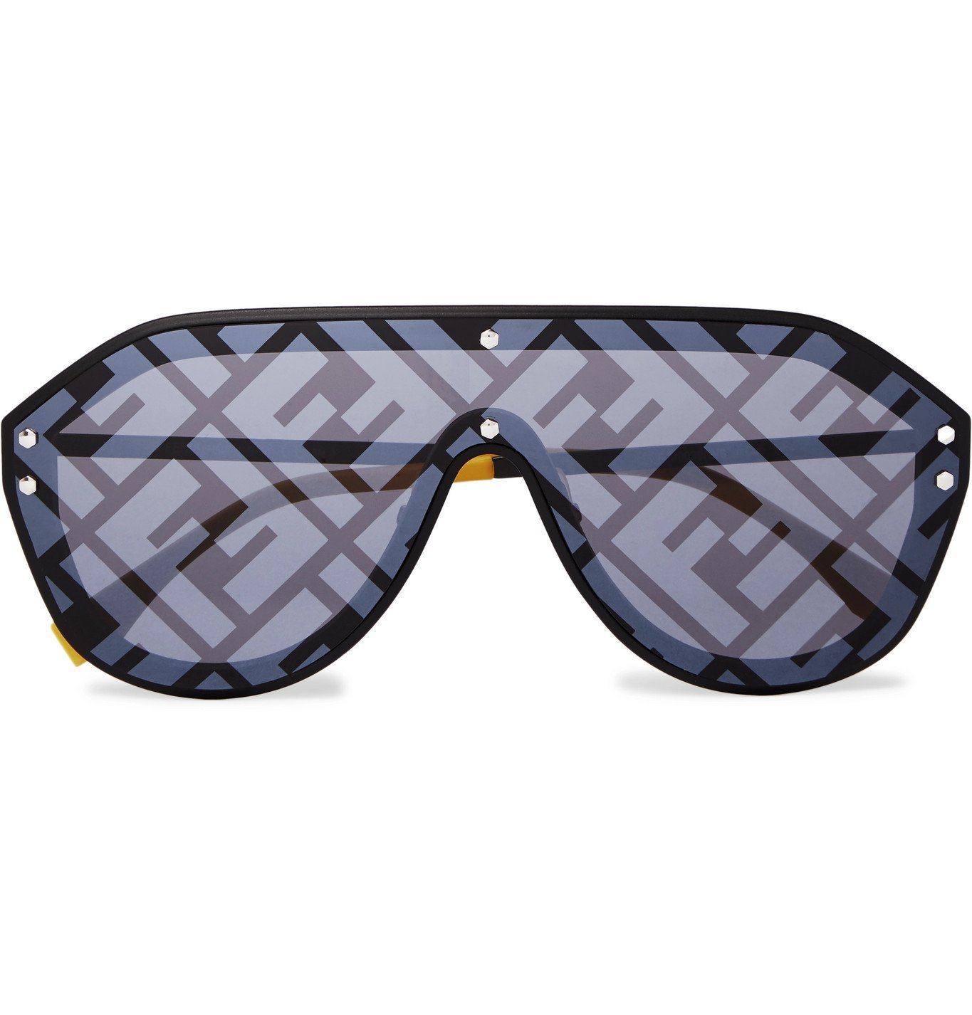Photo: Fendi - Logo-Print Aviator-Style Acetate and Metal Sunglasses - Black